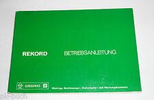 Betriebsanleitung Handbuch Opel Rekord D, Stand 1975