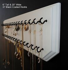 6x20-White 37-Black, Jewelry Organizer Hanging Necklace Holder Display Wall Rack