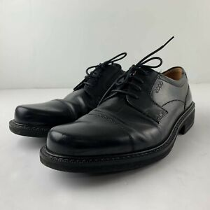 ECCO Men 44 US 10 - 10.5 Black Leather Oxford Derby Extra Width Career Shoe