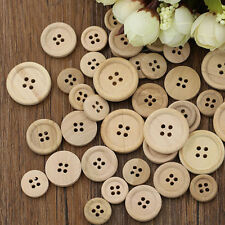 50 Pcs Mixed Wooden Buttons Natural Color DIY 4-holes Sewing Scrapbooking Round