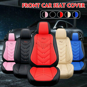 1/2pcs Universal PU Leather Car Front Seat Cushion Pad Cover Protector Deluxe