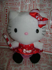"NWT HELLO KITTY SANRIO 10"" PLUSH STUFFED CHRISTMAS CANE BOW RED DRESS CUTE RARE"