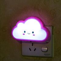 US/EU Plug-in Energy Saving LED Night Light Room Bedside Nursery Hall Wall Lamp