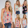 Womens Holiday Basic Blouse Cami Shirt Ladies Sleeveless Tee Floral Vest Tops