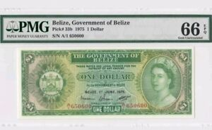 1975 BELIZE 1 Dollar PMG66 EPQ GEM UNC <P-33b>