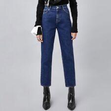 BNWT Zara Women's Classic Hi-Rise Denim Mom Jeans Deep Blue Size 6 34