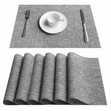Placemats Set of 6 Woven Vinyl Place Mats Heat Resistant Dining Table Mats