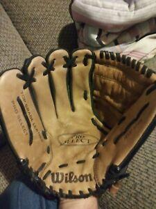 "Wilson Pro Select Baseball Glove A2476 Grade Black Leather Left Handed 12 1/2"""