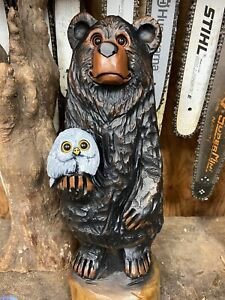 BLACK BEAR holding OWL Chainsaw Carving White Pine Wood BEAR & OWL Statue UNIQUE