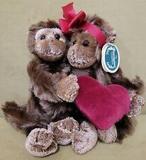 "Bearington 9"" Val & Tina Monkey Plush Posing Sweetheart Valentine Love"