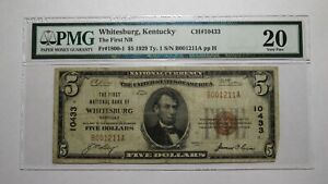 $5 1929 Whitesburg Kentucky KY National Currency Bank Note Bill! #10433 VF20 PMG
