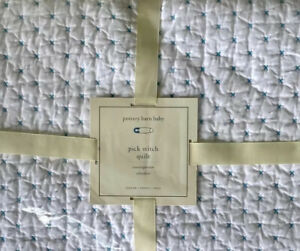 Pottery Barn Baby Toddler Pick Stitch Quilt Comforter New Sealed Cotton Blanket