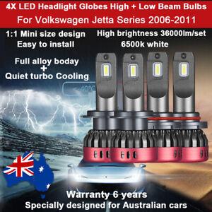 For Volkswagen Jetta 2008 2009 4x Headlight Globes High Low Beam white bulbs Set