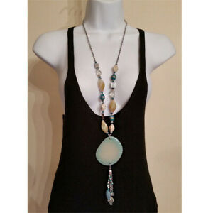Chico's long statement faux shell necklace