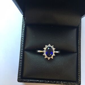 9ct White Gold Sapphire and Diamond Oval Cluster Ring | Engagement Ring