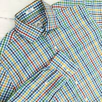 Peter Millar Mens Sz Medium Button Down Long Sleeve Dress Shirt Multicolor Plaid