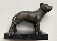 BRONZE STATUE STAFFORDSHIRE BULL TERRIER DOG ON MARBLE BASE 18cm