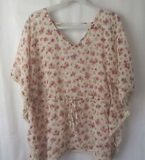 Decree Sheer Top Flowy Kimono Type Sleeves Drawstring Waist Pink Floral  L #7172