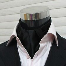 Men Wedding Formal Cravat Ascot Scrunch Ruche Self Neck Tie Solid Black