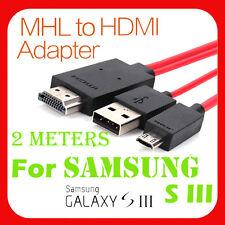 2m Micro Usb Mhl A Hdmi Hdtv Adaptador De Cable Para Samsung Galaxy S3 I9300 Y Note 2