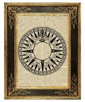 Compass Rose #1 Art Print on Vintage Book Page Marine Nautical Home Decor Gifts