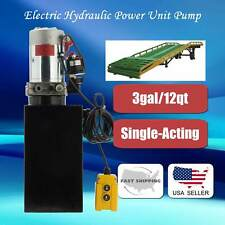 Single Acting Hydraulic 12v Pump Dump Trailer Unit 12 Quart Metal Reservoir