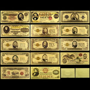 14pcs US Gold Banknote 100 Dollars Paper Money Bill Souvenir for Collection