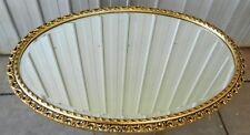 Wall Mirror Oval Vintage Bevelled Edge Gold Gilt Hand Carved Frame 1968