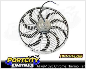 """Aeroflow Chrome Electric Thermo Fan 16"""" Curved Blade Reversible AF49-1028"""
