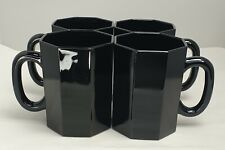More details for vintage 1980s arcoroc (?) black octagon mugs ×4 france unboxed used