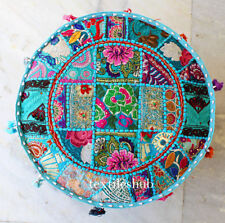 Indian Handmade Round Pouffe Cover Vintage Cotton Footstool Ottoman Patchwork