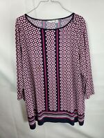 Croft & Barrow Womens Plus Size 1X Multicolored Top 3/4 Sleeve Tunic Blouse