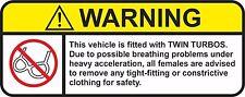 WARNING TWIN TURBOS decal Vinyl JDM RACING DRIFT car sticker -  #J-13