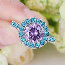 Mens Fashion Size 7 (purple)Amethyst Trendy 10K white Gold Filled Wedding Ring