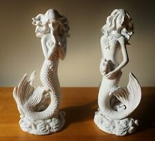 2 Gorgeous White Mermaid Sculpture Coastal Beach Home Nautical Decor Statues New