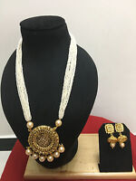Indian Ethnic Gold Plated Bollywood Pearl Bridal Fashion Jewelry Necklace Set