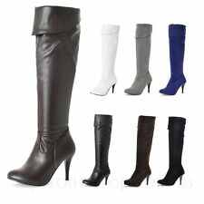 Women's Knee High Slim Pull on Synthetic Leather Boots
