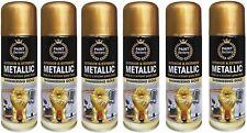 6 x Paint Factory Interior / Exterior Metallic Spray Paint Shimmering Gold 200ml