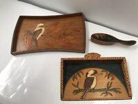 Vintage Handmade Pieces Of Pokerwork Depicting Kookaburras Tray & Brush & Shovel