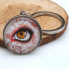 Terror Eyes Key Chain Black silver Keyfob Dome Pendant for women men Keyring