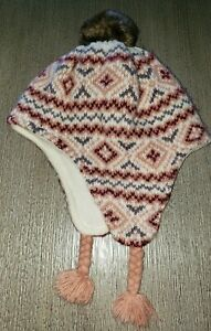 OLD NAVY girls size 18/24 month KNIT WINTER HAT fleece lined PRINT brown pompom