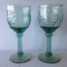 Two Depression Glass Green Goblets with Pressed Fruits Water/Wine