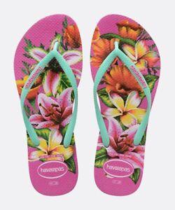Havaianas Women Flip Flops Slim Floral Fashion Style Slippers Beach 4129848-0064