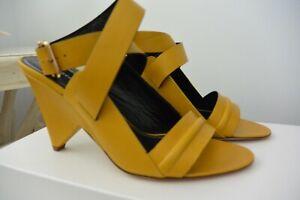 NIB Derek Lam Pace Mustard Yellow Leather Ankle Strap High Heel Sandals IT37 US7