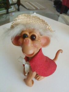 Troll, Vintage Monkey, 1966 R. Shekter, 6 1/2 inches Tall. Original Outfit!