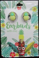 Gabba Goods Pineapple Silicone Earbuds With Mic 3.5mm Plug Hands Free Calls NEW