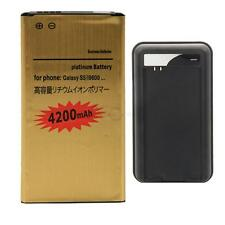 New 4200mAh Gold Battery + Door Charger for Samsung Galaxy S5 i9600 G900V G900A