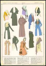 C1920 antica stampa MODA FRANCESE DONNA MANTEAUX Cappotti Cappotti Mantello (68)