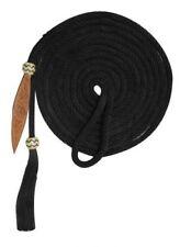 21' Nylon Mecate Reins Bosal with Horse Hair Tassle & Leather Popper BLACK