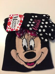 Disney MINNIE MOUSE Black/PINK HAT & GLOVES Glove SET Pom-Pom Bow NEW!
